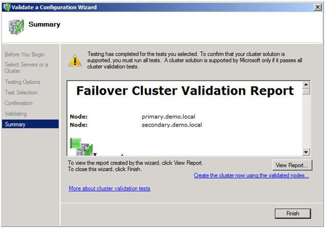 Figure 10 – View the validation report