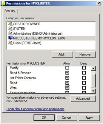 Figure 18 – Give the cluster computer account NTFS permissions