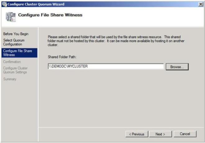 Figure 22 – Choose your file share witness