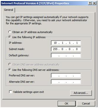 Figure 4 – Private network settings