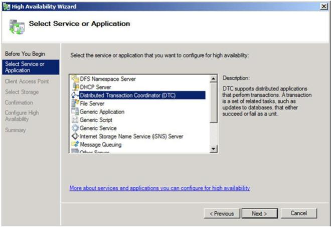 Figure 11 – Choose your Service or Application