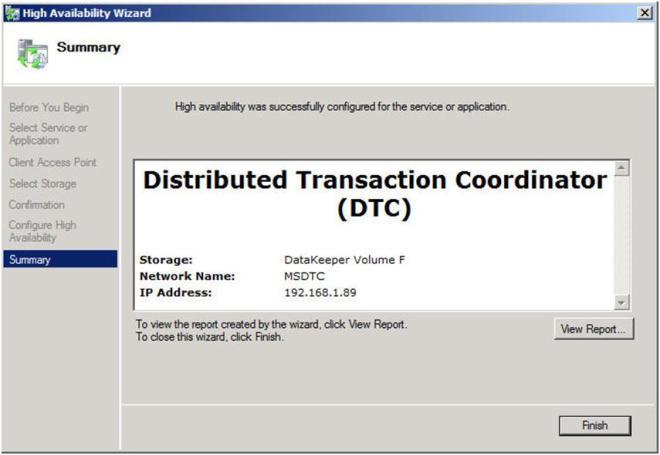 Figure 15 – A successfully configured DTC resource