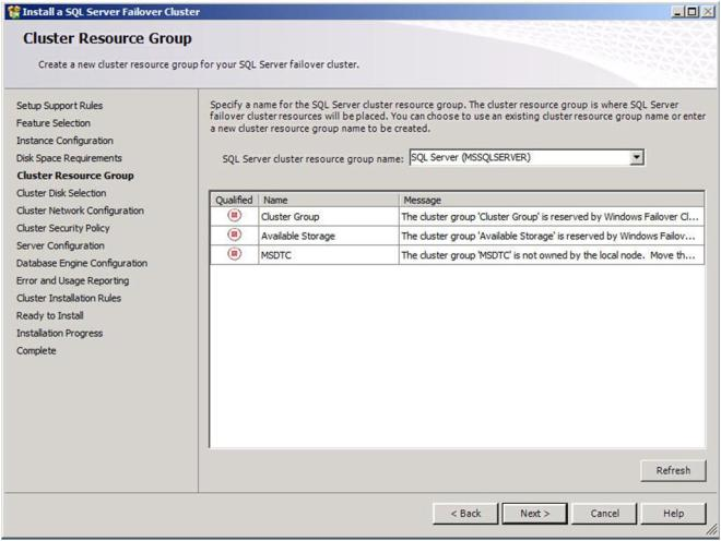 Figure 21 – Allow the wizard to create a new cluster resource group for you