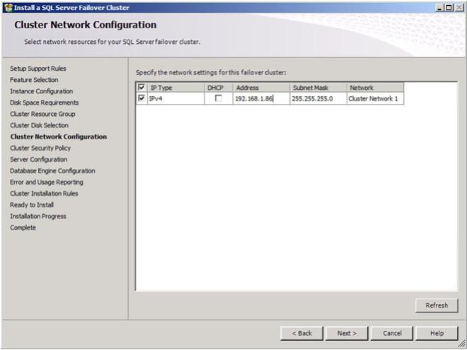 Figure 23 – Choose your SQL cluster IP address