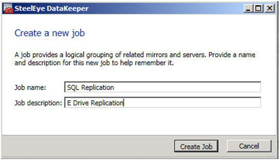 Figure 3 – Give your Job a name and description