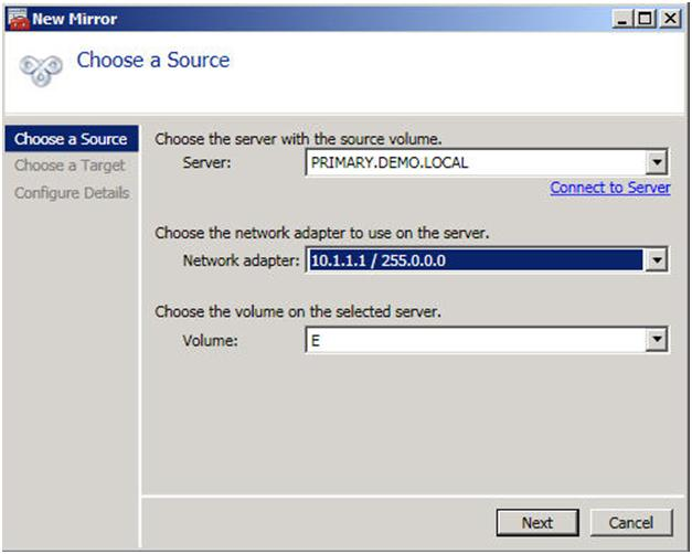 Figure 4 – Choose you source server and network to use for replication