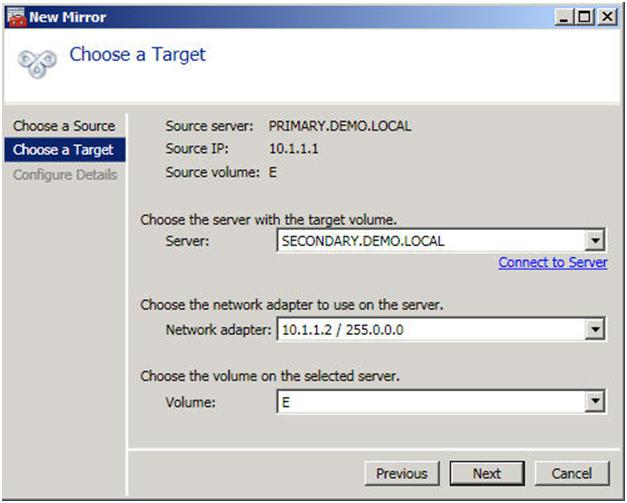 Figure 5 – Choose your target server