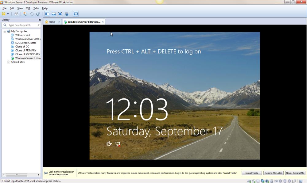 Windows Server 8 Developer Preview Running on VMware Workstation 8 (2/2)