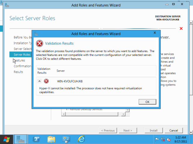 Windows Server 8 Developer Preview Will Not Support The Hyper-V Role While...