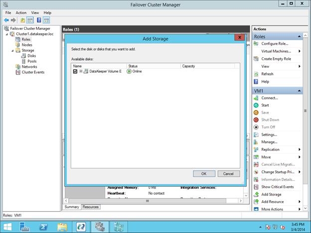 การกำหนดค่าคลัสเตอร์การโอนย้าย Hyper-V แบบไม่มีคลัสเตอร์ของ Sanless ด้วย DataKeeper Cluster Edition