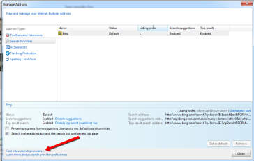 Changing the Default Search Provider in Internet Explorer 11