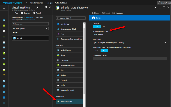 Azure Auto Shutdown For Virtual Machines